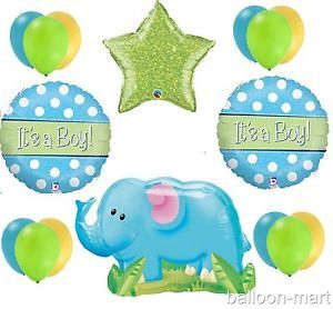 Baby Boy Elephant Blue Baby Shower Balloons Supplies Decorations Newborn Set Dot