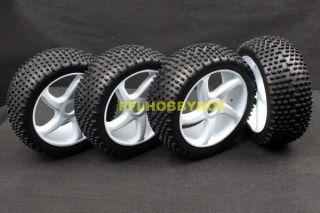 A0425 4X 1 8 Buggy Tires for HPI RC Car 17mm Hub Wheel Rim Tires