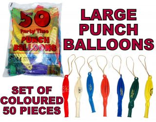 "Bag of 50 Large 16"" Colour Smiley Punch Ball Balloons Kids Party Fair Fete Gifts"