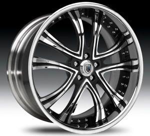 "22"" asanti AF159 Black Chrome Wheels Rims 2 Piece Tone"