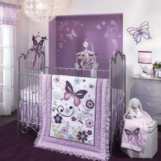 Lambs Ivy 6 Piece Baby Nursery Crib Bedding Set Butterfly Lane Includes Bumper