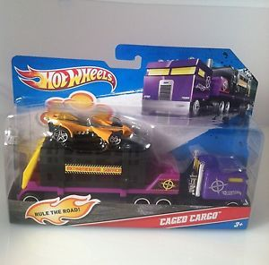 2011 Hot Wheels by Mattel Semi Truck w Trailer and Caged Cargo Car Toy