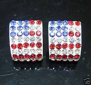 USA American Flag Hip Hop Curve Crystal Studs Earrings