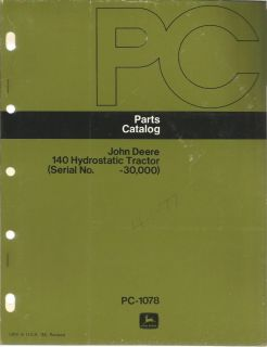 John Deere 140 Hydrostatic Tractor Parts Catalog