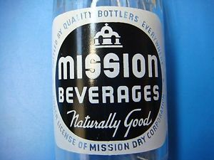 "Vintage 1948 Mission Beverages ""Naturally Good"" 10 FL oz Soda Bottle Excellent"
