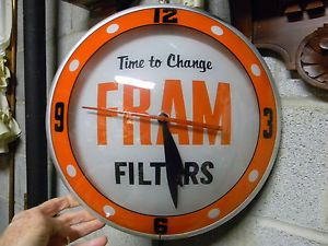 Beautiful Vintage Fram Oil Filter Double Bubble Lighted Clock Excellent Clean