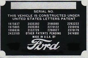 Serial Number Tag Parts & Accessories