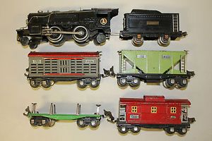 Pre War Lionel 259E Engine Tender Set 653 656 657 Log Car All Original Nice