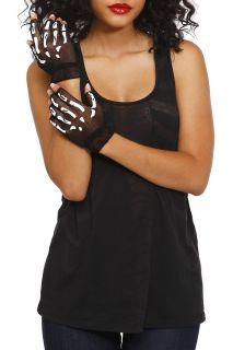 Skeleton Fishnet Fingerless Gloves