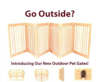 "6 Panel Out Door Pet Gate Dog Play Pen Solid White Oak Hardwood 32""H x 108""L"