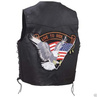 Mens Leather Vest with Large Eagle Motorcycle Gear Biker Vest Biker Accessories