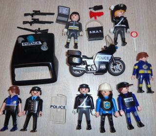 Playmobil Police SWAT firemen Lot of People Motorcycle Few Accessories