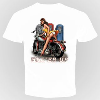 Fill'ER Up Funny Biker T Shirt Sexy Woman Sex Chopper Rude Motorcycle Hot Ass