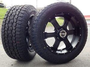 "20"" V Tec Black Wheels Rims Toyo AT2 Tires Package 6x135 6 Lug Ford F 150 Truck"