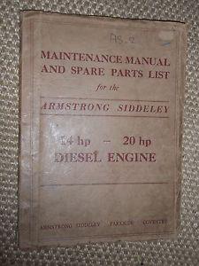 Armstrong Siddeley 14HP 20HP 1976cc Diesel Engine Repair Spares Manual 1952