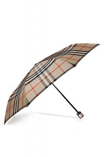 Camel Check Folding Umbrella by BURBERRY LONDON