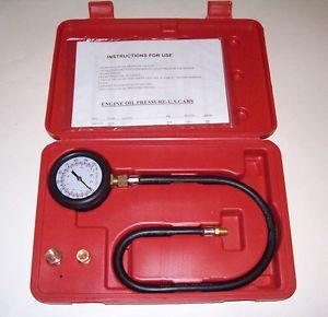 Engine Oil Pressure Tester Gauge Diagnostic Test Kit w Adapters Case 100 PSI