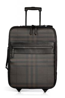 Chocolate Smoked Check Carry On Suitcase by BURBERRY LONDON