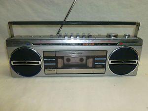 Vtg Retro Sanyo M7100K Boombox Portable Stereo Radio Cassette Player