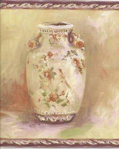 Kitchen Wallpaper Border for Sale Purple Vase and Plate Purple Trim