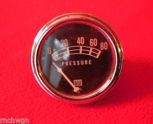 "Vintage Stewart Warner 2 1 8"" Oil Pres Gauge Coffin Needle Hot Rod Traditional"