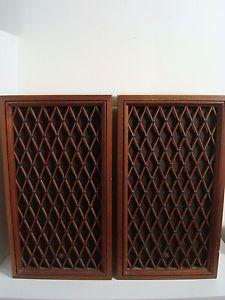 Pioneer Vintage Large Bookshelf Speakers CS 66 Lattice Grill Wood Cabinets