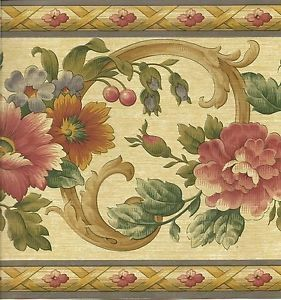 Kitchen Wallpaper Border Floral Scroll with Fruit Wall Border Blue Trim