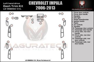 Fits Chevy Impala 2006 2007 2008 2009 2010 2011 2012 Full Wood Dash Kit A 15pc