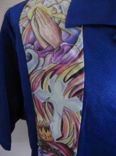 New Tattoo Jesus Electric Blue Christian Faith Born Again Bowling Shirt XXL 2XL