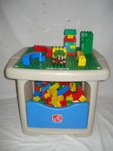 Step 2 Toddler Kids Building Block Table 180 Duplo Mega Bloks Bricks Lot