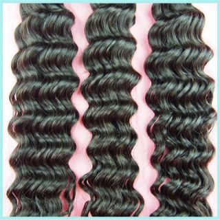 Unprocessed 5A Brazilian Virgin Deep Wave Human Hair Weft Extension 12 14 16