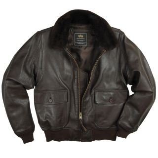 New Alpha Industries G 1 Goatskin Leather Navy Fighter Pilot Jacket Brown Black