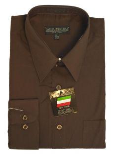 New Daniel Ellissa Mens Fashion Dress Shirt Dark Brown DS3001