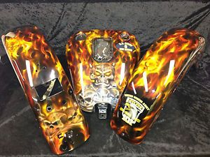 Custom Airbrushing Paint Job Harley Tins Skulls Flames Candy Motorcycle Parts