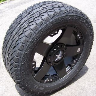 "20"" Black Rockstar Wheels Falken Wild Peak at Tires Chevy Silverado Sierra Tahoe"
