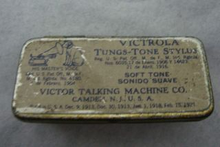 Empty Vintage Victrola Tungs Tone Stylus Victor Talking Machine Co Tin