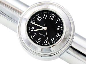 "7 8"" 1"" Motorcycle Handlebar Chrome Black Dial Clock for Harley Softail Dyna FL"