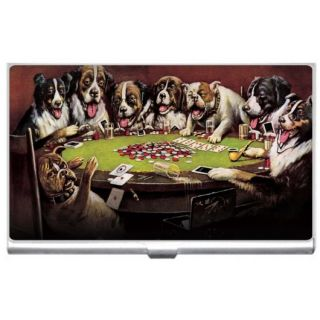 New Dogs Playing Poker Metal Business Credit Card Case Holder