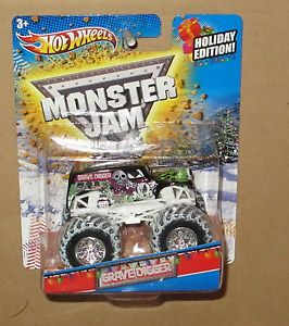 Hot Wheels Monster Jam Trucks Holiday Issue Snow Tires Grave Digger