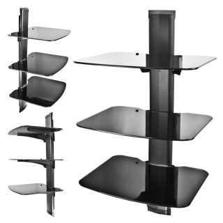Component Shelf Wall Mount AV DVD Cable Box Game Console TV Stereo Rack 3 Tier