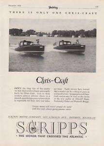 F 1929 Scripps Motor Chris Craft Boat Engine Yacht Wood