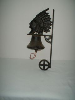 Indian Chief Cast Iron Wall Hanging School Call to Dinner Bell