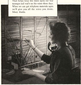 Vintage Ad 1943 ATT T Bell Telephone Operator An Urgent Call for You WWII Theme