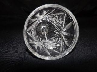 Elegant Clear Crystal Glass Ringing Bell w Cut Star of David Pinwheel Design