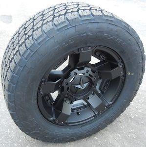 "18"" Black Rockstar 2 Wheels Rims Nitto Terra Grappler Tires Chevy GMC 1500 Ford"