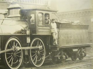 Real Photo Steam Locomotive Engine 266 with Some Crew
