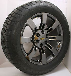 "New Set of 4 Black Chrome Chevy Silverado 20"" Wheels Rims Nitto Tires Sensors"