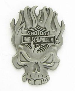 Harley Davidson Flaming Skull Vest Pin New on Card