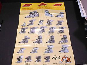 Vintage Late 80's Super Tigre R C Airplane Engine Product Poster VG EX Cond