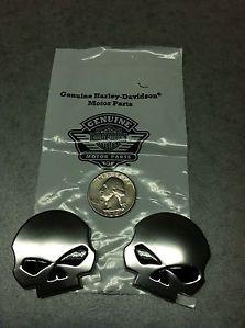 2 New Harley Davidson Willie G Skull Emblems Peel Stick CVO Screamin' Eagle